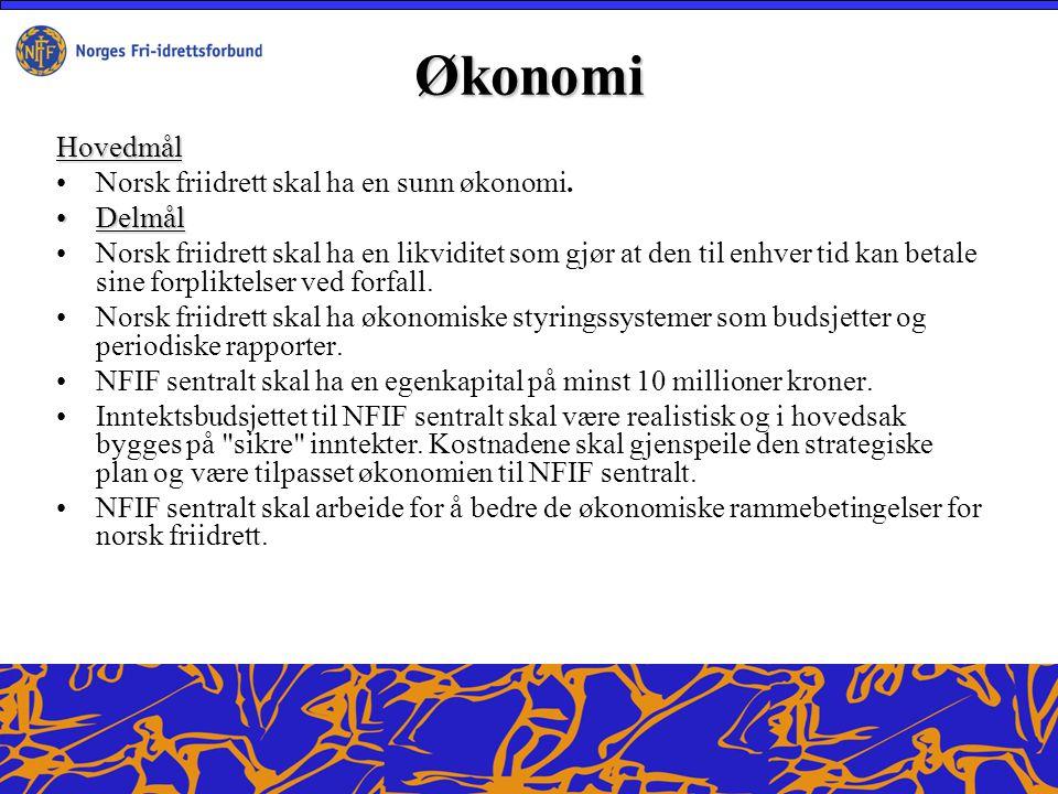 Økonomi Hovedmål Norsk friidrett skal ha en sunn økonomi.
