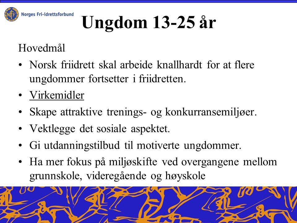 Ungdom 13-25 år Hovedmål Norsk friidrett skal arbeide knallhardt for at flere ungdommer fortsetter i friidretten.