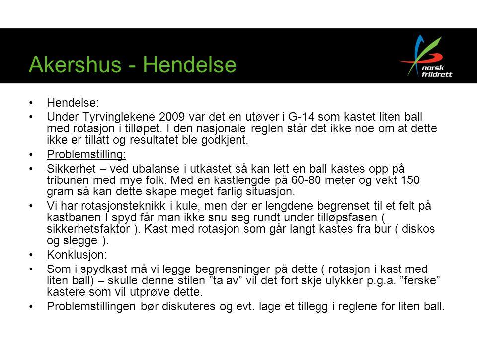 Akershus - Hendelse Hendelse: Under Tyrvinglekene 2009 var det en utøver i G-14 som kastet liten ball med rotasjon i tilløpet. I den nasjonale reglen