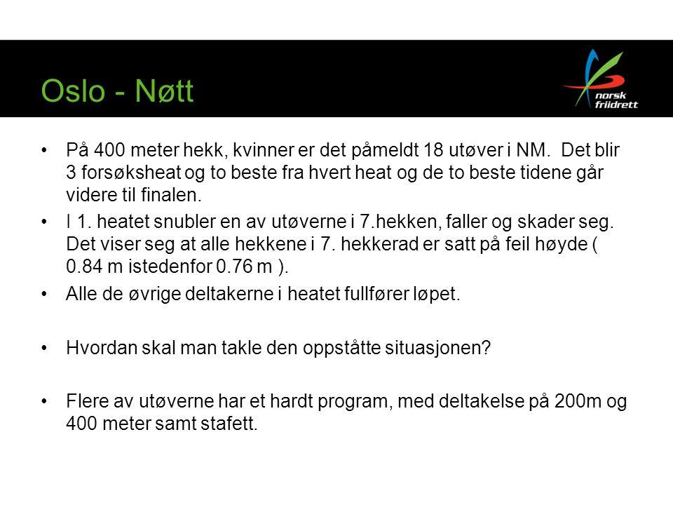 Oslo - Nøtt På 400 meter hekk, kvinner er det påmeldt 18 utøver i NM. Det blir 3 forsøksheat og to beste fra hvert heat og de to beste tidene går vide