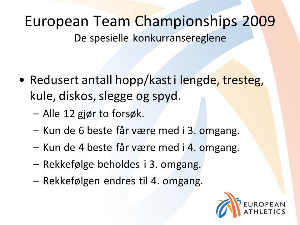 European Team Championships 2009 De spesielle konkurransereglene Redusert antall hopp/kast i lengde, tresteg, kule, diskos, slegge og spyd. –Alle 12 g