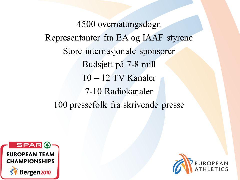 4500 overnattingsdøgn Representanter fra EA og IAAF styrene Store internasjonale sponsorer Budsjett på 7-8 mill 10 – 12 TV Kanaler 7-10 Radiokanaler 100 pressefolk fra skrivende presse