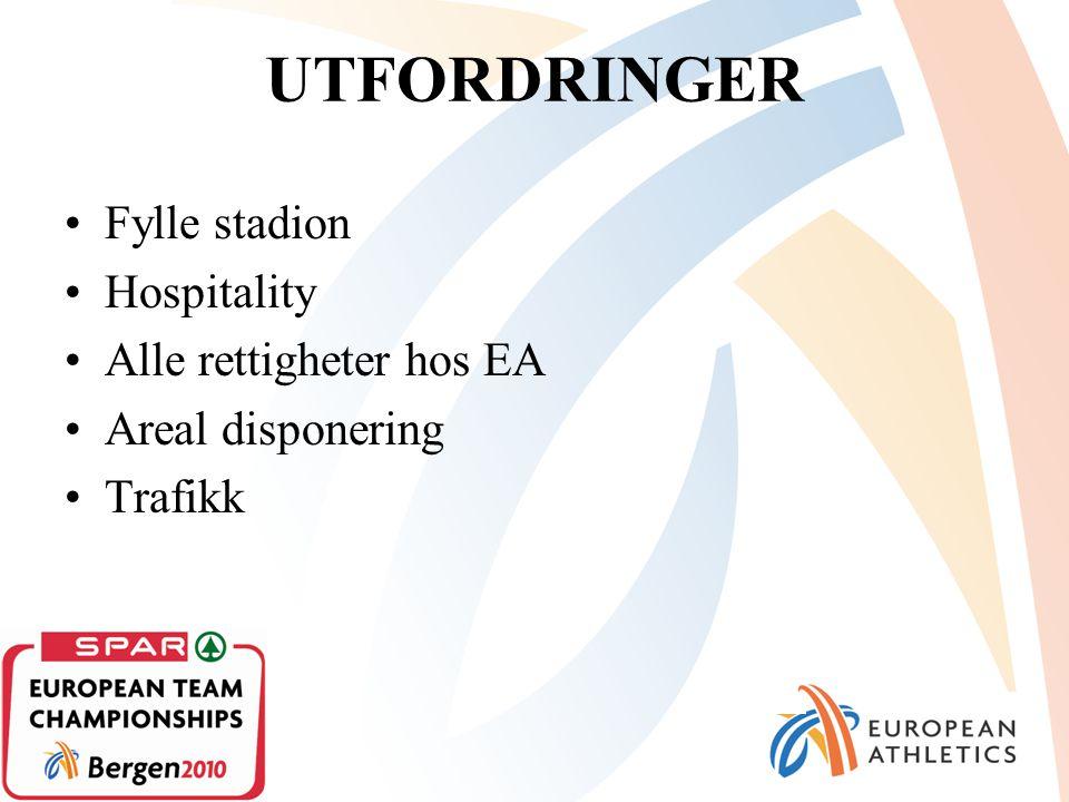 UTFORDRINGER Fylle stadion Hospitality Alle rettigheter hos EA Areal disponering Trafikk