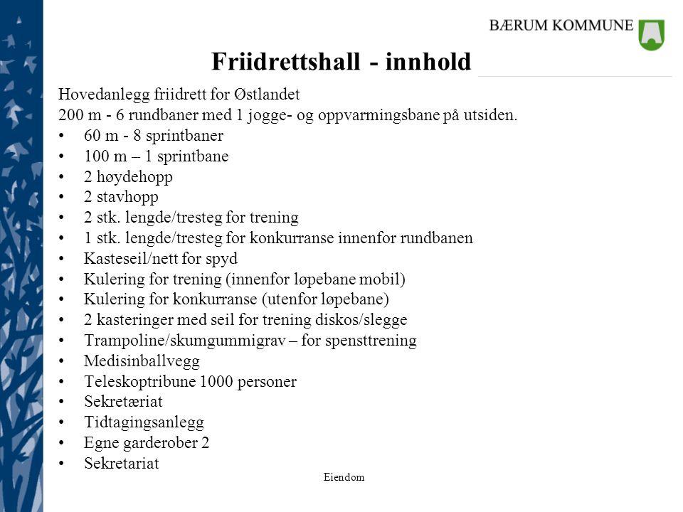 Eiendom Friidrettshall - innhold Hovedanlegg friidrett for Østlandet 200 m - 6 rundbaner med 1 jogge- og oppvarmingsbane på utsiden. 60 m - 8 sprintba