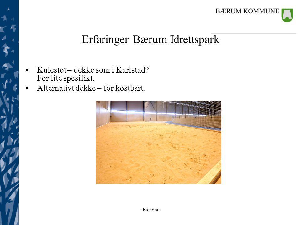 Eiendom Erfaringer Bærum Idrettspark Kulestøt – dekke som i Karlstad? For lite spesifikt. Alternativt dekke – for kostbart.