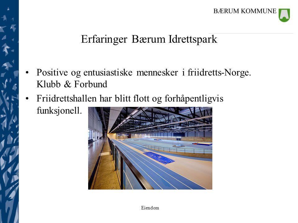 Eiendom Erfaringer Bærum Idrettspark Positive og entusiastiske mennesker i friidretts-Norge. Klubb & Forbund Friidrettshallen har blitt flott og forhå