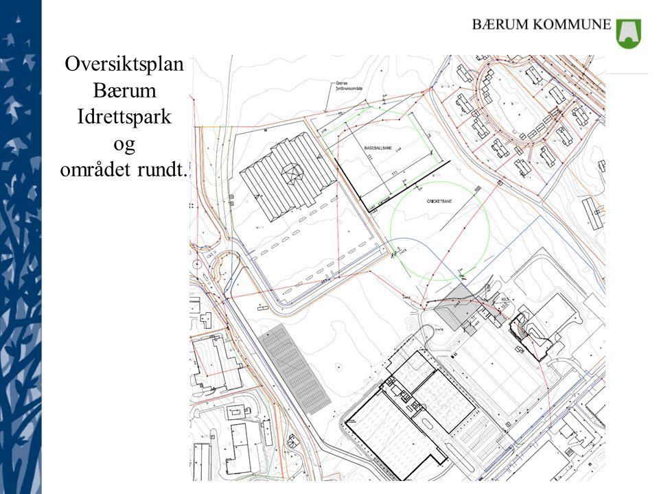 Eiendom Oversiktsplan Bærum Idrettspark og området rundt.