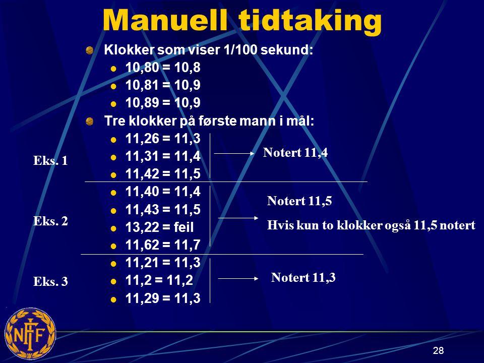 28 Manuell tidtaking Klokker som viser 1/100 sekund: 10,80 = 10,8 10,81 = 10,9 10,89 = 10,9 Tre klokker på første mann i mål: 11,26 = 11,3 11,31 = 11,4 11,42 = 11,5 11,40 = 11,4 11,43 = 11,5 13,22 = feil 11,62 = 11,7 11,21 = 11,3 11,2 = 11,2 11,29 = 11,3 Eks.