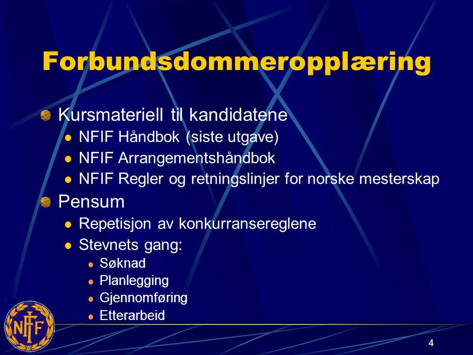 4 Forbundsdommeropplæring Kursmateriell til kandidatene NFIF Håndbok (siste utgave) NFIF Arrangementshåndbok NFIF Regler og retningslinjer for norske mesterskap Pensum Repetisjon av konkurransereglene Stevnets gang: Søknad Planlegging Gjennomføring Etterarbeid