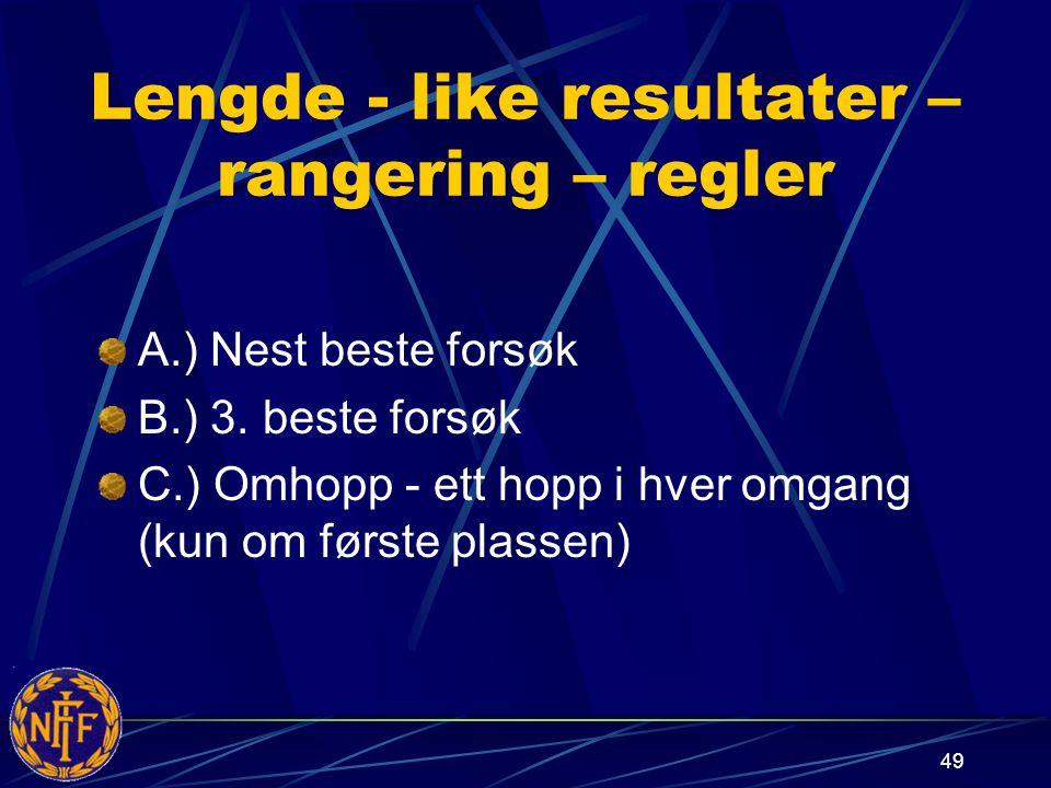 49 Lengde - like resultater – rangering – regler A.) Nest beste forsøk B.) 3.