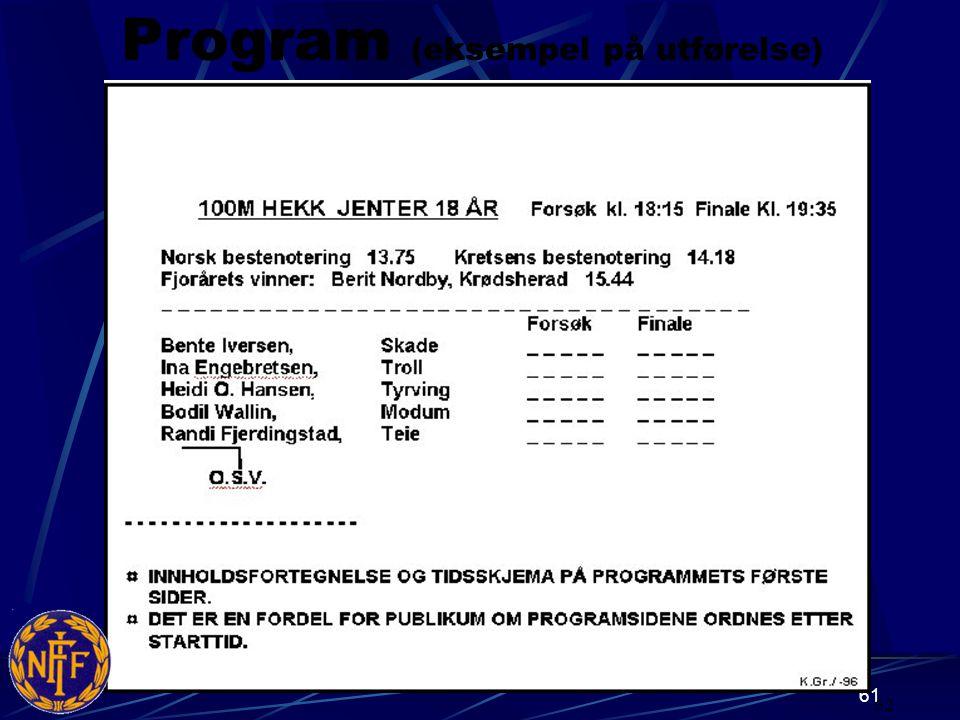 61 Program (eksempel på utførelse) 62