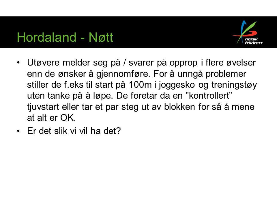Hordaland - Nøtt Utøvere melder seg på / svarer på opprop i flere øvelser enn de ønsker å gjennomføre.