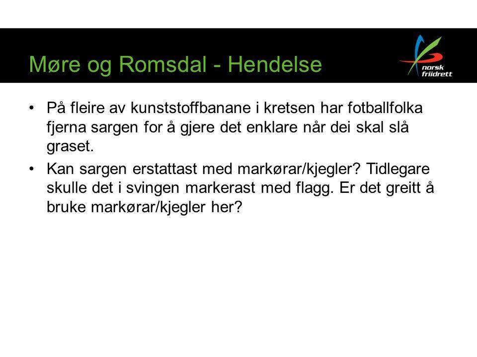 Møre og Romsdal - Hendelse På fleire av kunststoffbanane i kretsen har fotballfolka fjerna sargen for å gjere det enklare når dei skal slå graset.