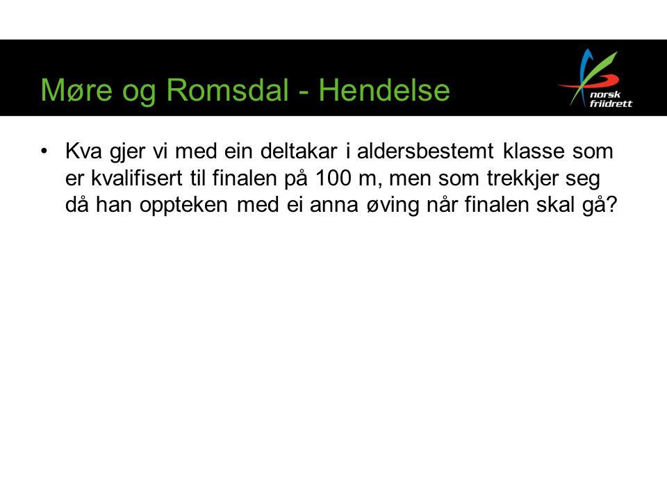 Møre og Romsdal - Hendelse Kva gjer vi med ein deltakar i aldersbestemt klasse som er kvalifisert til finalen på 100 m, men som trekkjer seg då han oppteken med ei anna øving når finalen skal gå?