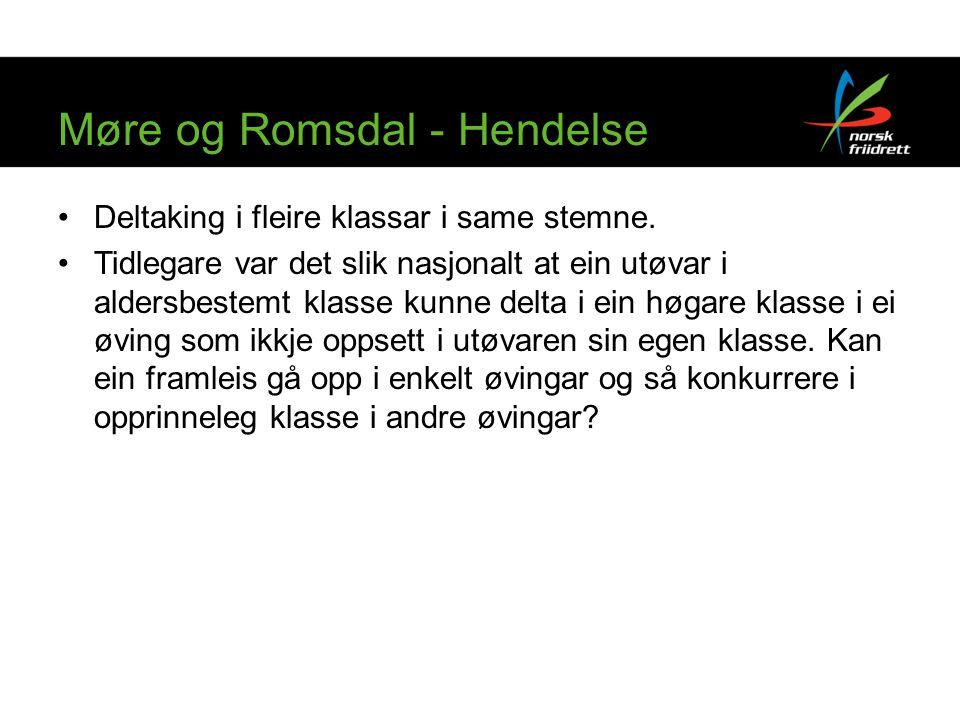 Møre og Romsdal - Hendelse Deltaking i fleire klassar i same stemne.