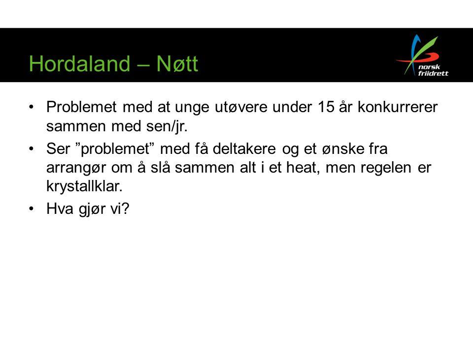 Hordaland – Nøtt Problemet med at unge utøvere under 15 år konkurrerer sammen med sen/jr.