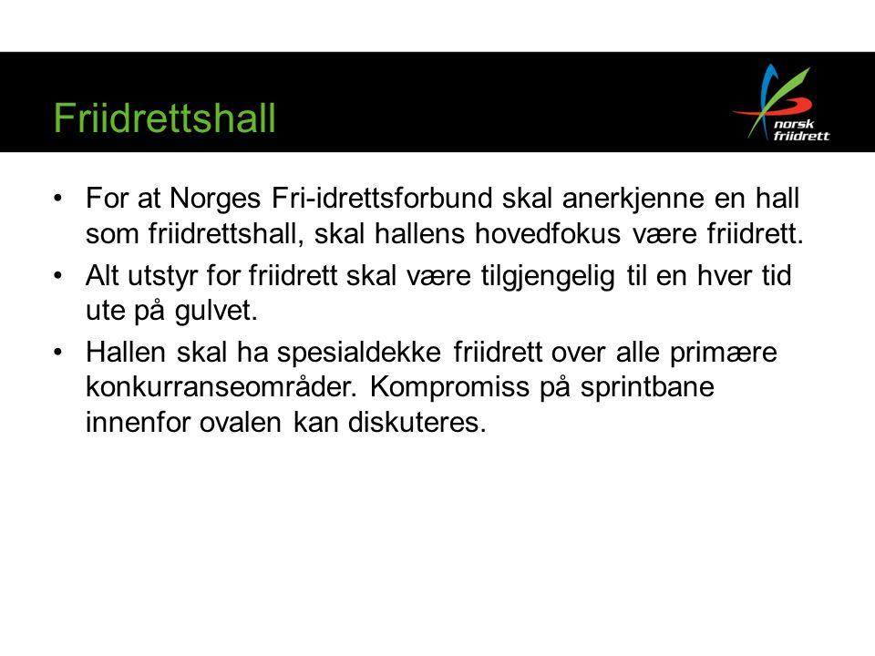 Friidrettshall For at Norges Fri-idrettsforbund skal anerkjenne en hall som friidrettshall, skal hallens hovedfokus være friidrett.
