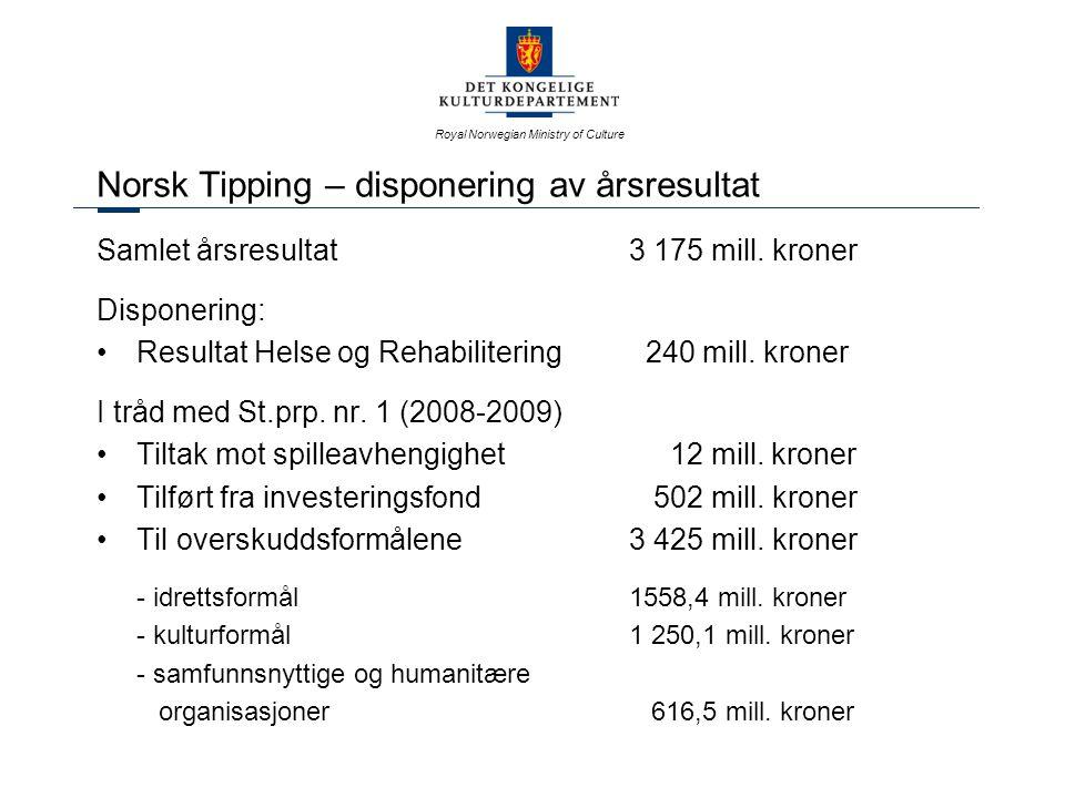 Royal Norwegian Ministry of Culture Spillemidler Hovedfordelingen – til idrettsformål Post 1.1 Anlegg i kommunene Søknader ord.