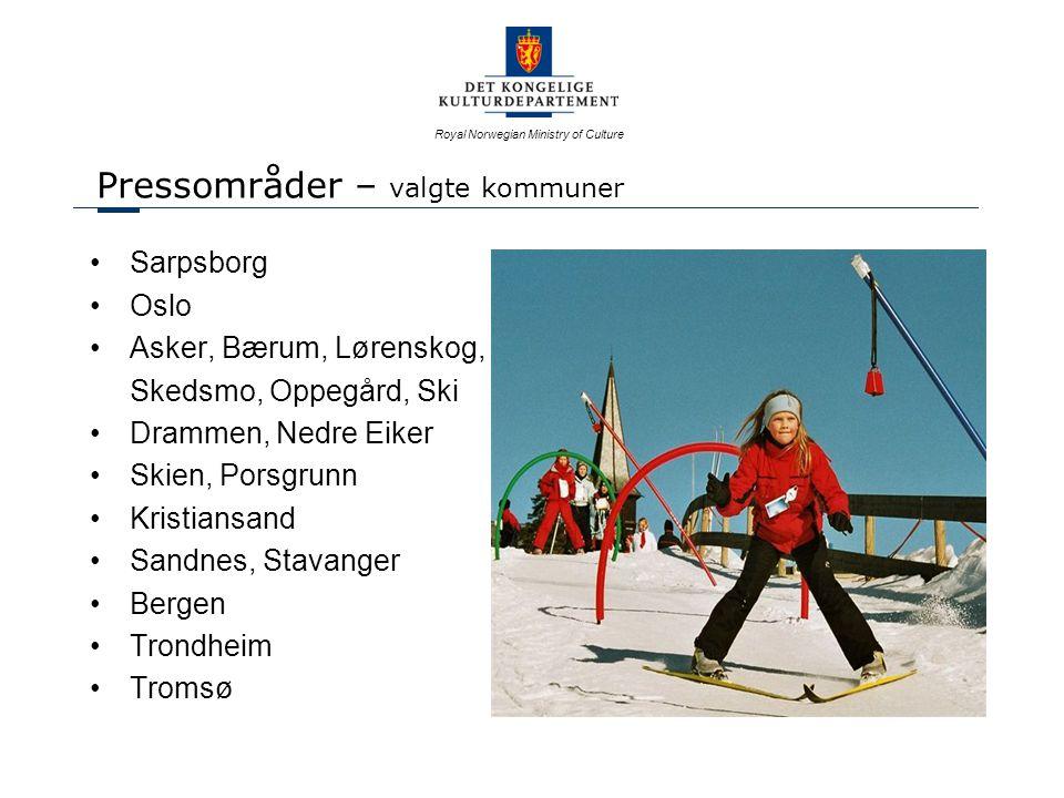 Royal Norwegian Ministry of Culture Pressområder – valgte kommuner Sarpsborg Oslo Asker, Bærum, Lørenskog, Skedsmo, Oppegård, Ski Drammen, Nedre Eiker Skien, Porsgrunn Kristiansand Sandnes, Stavanger Bergen Trondheim Tromsø