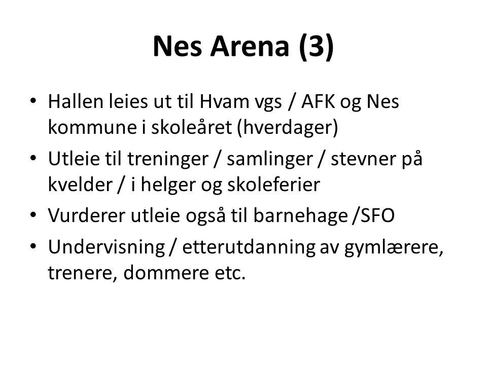 Nes Arena (3) Hallen leies ut til Hvam vgs / AFK og Nes kommune i skoleåret (hverdager) Utleie til treninger / samlinger / stevner på kvelder / i helg