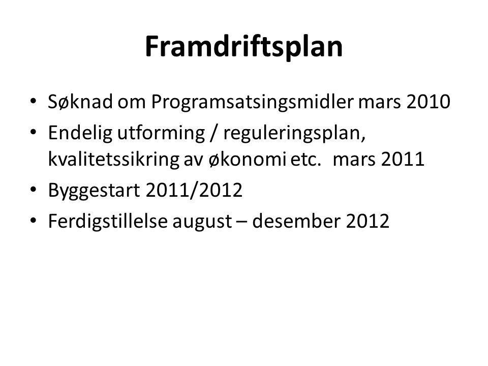 Framdriftsplan Søknad om Programsatsingsmidler mars 2010 Endelig utforming / reguleringsplan, kvalitetssikring av økonomi etc. mars 2011 Byggestart 20