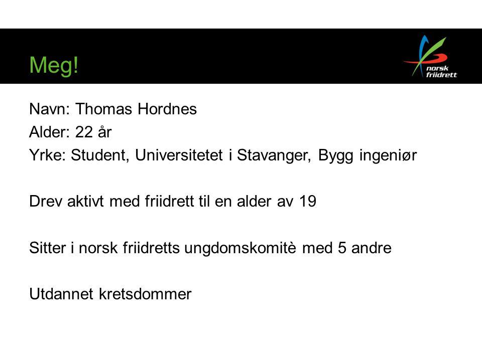 Meg! Navn: Thomas Hordnes Alder: 22 år Yrke: Student, Universitetet i Stavanger, Bygg ingeniør Drev aktivt med friidrett til en alder av 19 Sitter i n