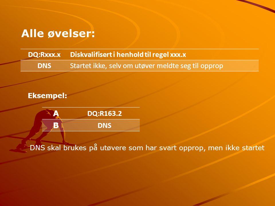 Alle øvelser: DQ:Rxxx.xDiskvalifisert i henhold til regel xxx.x DNSStartet ikke, selv om utøver meldte seg til opprop Eksempel: A DQ:R163.2 B DNS DNS skal brukes på utøvere som har svart opprop, men ikke startet