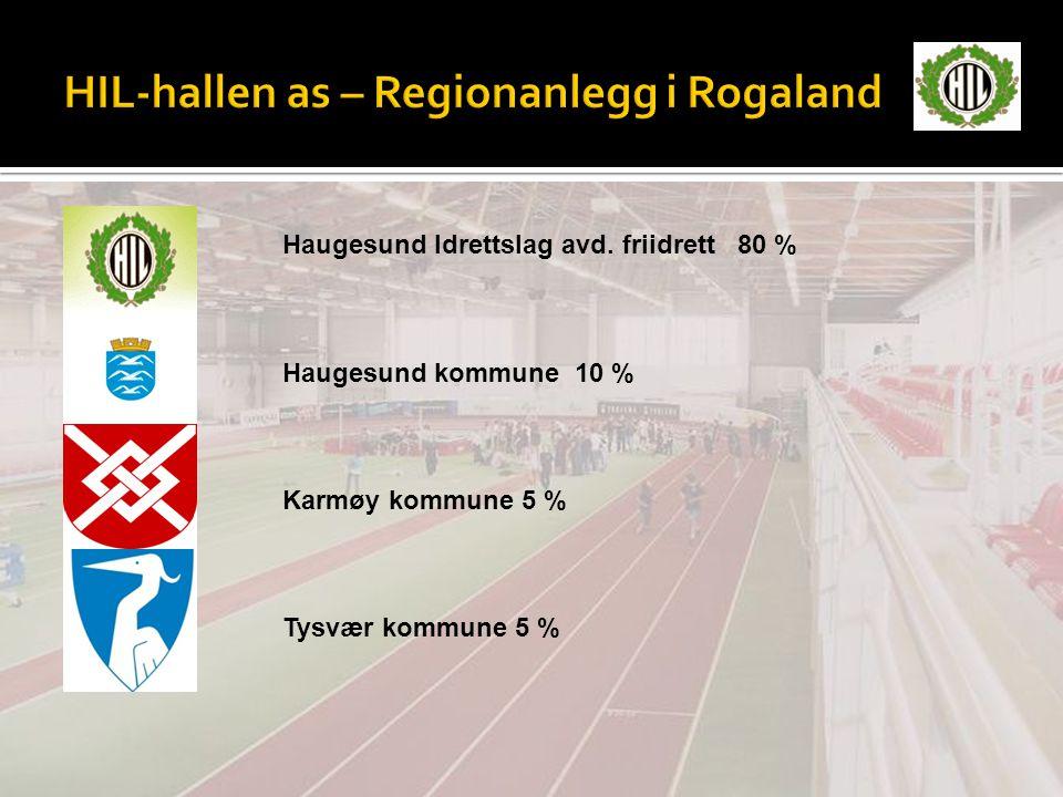 Haugesund Idrettslag avd. friidrett 80 % Haugesund kommune 10 % Karmøy kommune 5 % Tysvær kommune 5 %