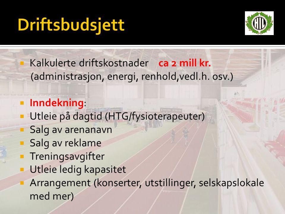  Kalkulerte driftskostnaderca 2 mill kr.(administrasjon, energi, renhold,vedl.h.