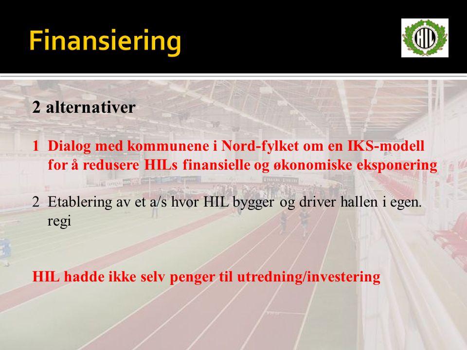 2 alternativer 1 Dialog med kommunene i Nord-fylket om en IKS-modell for å redusere HILs finansielle og økonomiske eksponering 2 Etablering av et a/s hvor HIL bygger og driver hallen i egen.