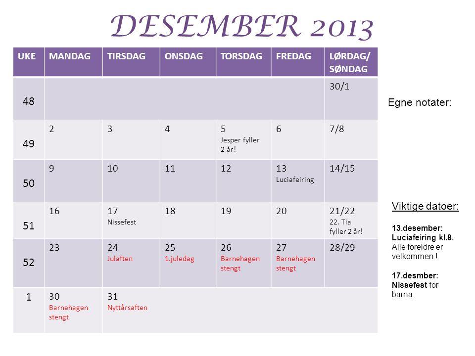 DESEMBER 2013 UKEMANDAGTIRSDAGONSDAGTORSDAGFREDAGLØRDAG/ SØNDAG 48 30/1 49 2345 Jesper fyller 2 år.