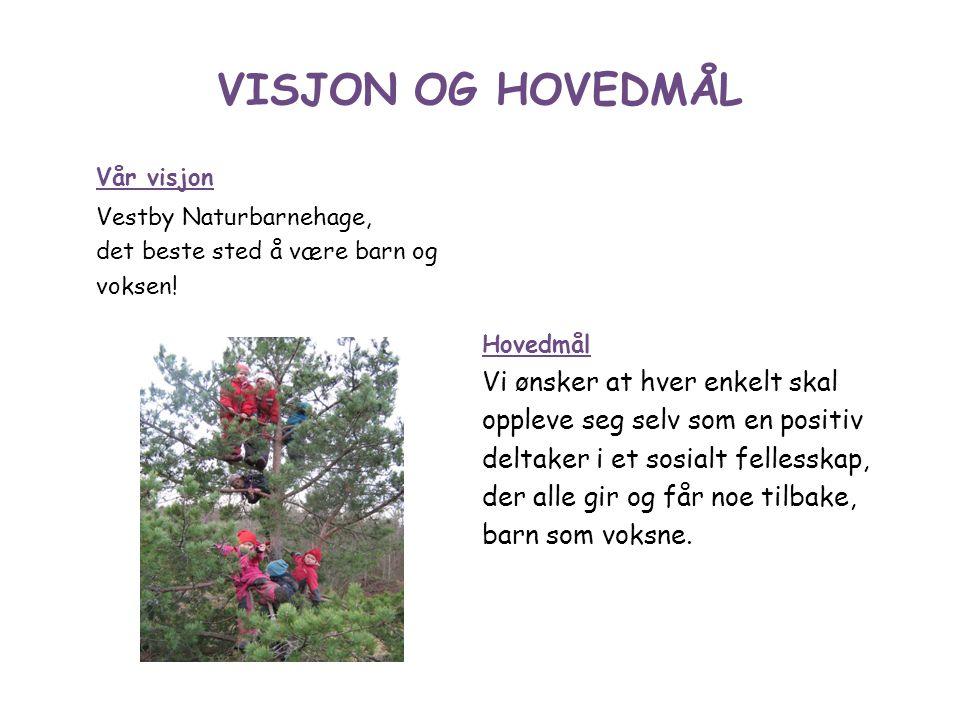 VISJON OG HOVEDMÅL Vår visjon Vestby Naturbarnehage, det beste sted å være barn og voksen.