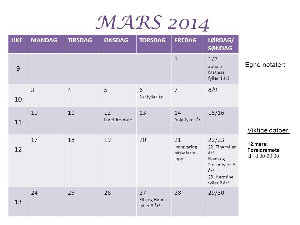 MARS 2014 UKEMANDAGTIRSDAGONSDAGTORSDAGFREDAGLØRDAG/ SØNDAG 9 11/2 2.mars Mathias fyller 4 år.