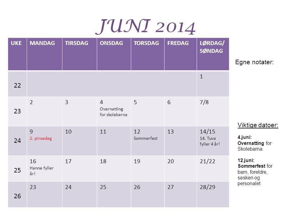 JUNI 2014 UKEMANDAGTIRSDAGONSDAGTORSDAGFREDAGLØRDAG/ SØNDAG 22 1 23 234 Overnatting for skolebarna 567/8 24 9 2. pinsedag 101112 Sommerfest 1314/15 14