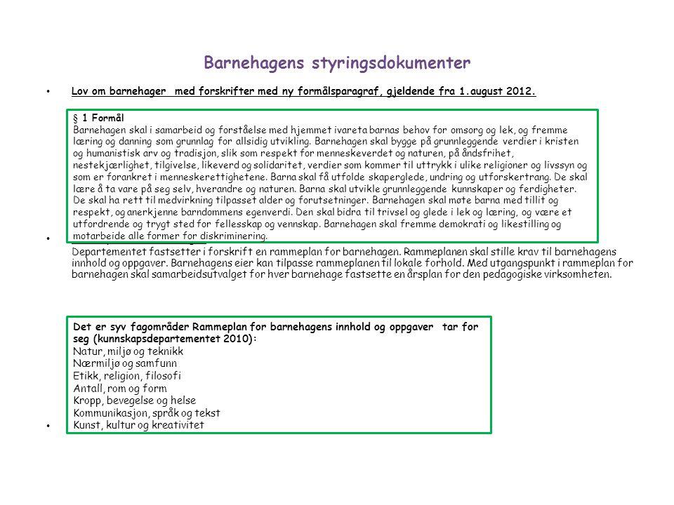 Barnehagens styringsdokumenter Lov om barnehager med forskrifter med ny formålsparagraf, gjeldende fra 1.august 2012. Rammeplan for barnehagen Departe