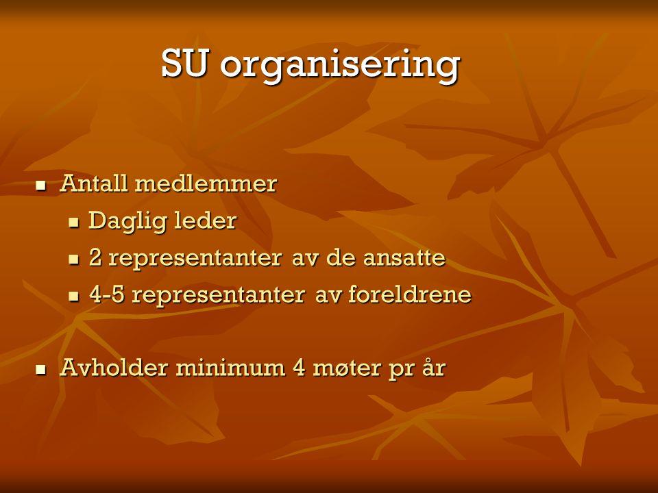 SU organisering Antall medlemmer Antall medlemmer Daglig leder Daglig leder 2 representanter av de ansatte 2 representanter av de ansatte 4-5 represen