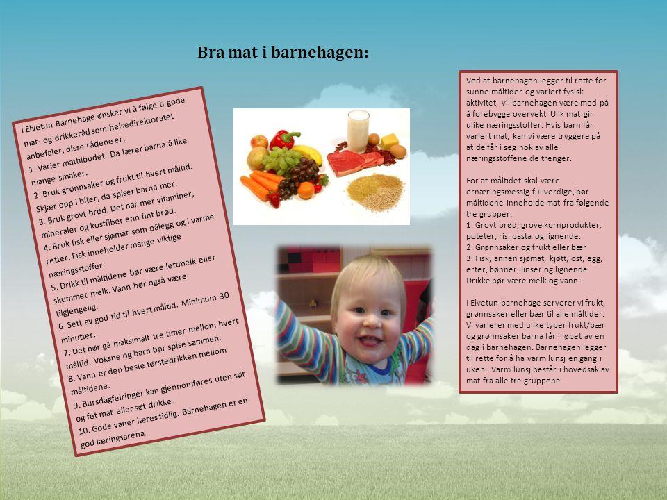 Bra mat i barnehagen: I Elvetun Barnehage ønsker vi å følge ti gode mat- og drikkeråd som helsedirektoratet anbefaler, disse rådene er: 1. Varier matt