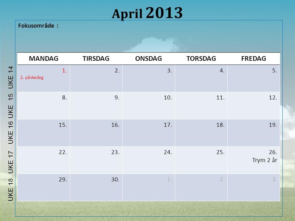 April 2013 Fokusområde : MANDAGTIRSDAGONSDAGTORSDAGFREDAG 1. 2. påskedag 2.3.4.5. 8.9.10.11.12. 15.16.17.18.19. 22.23.24.25.26. Trym 2 år 29.30.1.2.3.