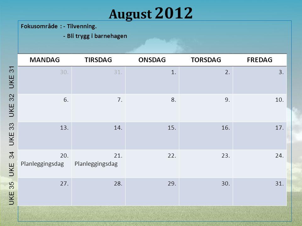 August 2012 Fokusområde : - Tilvenning. - Bli trygg i barnehagen MANDAGTIRSDAGONSDAGTORSDAGFREDAG 30.31.1.2.3. 6.7.8.9.10. 13.14.15.16.17. 20. Planleg