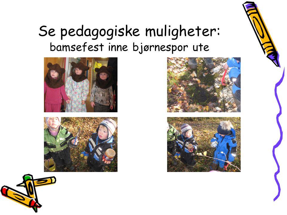 Se pedagogiske muligheter: bamsefest inne bjørnespor ute