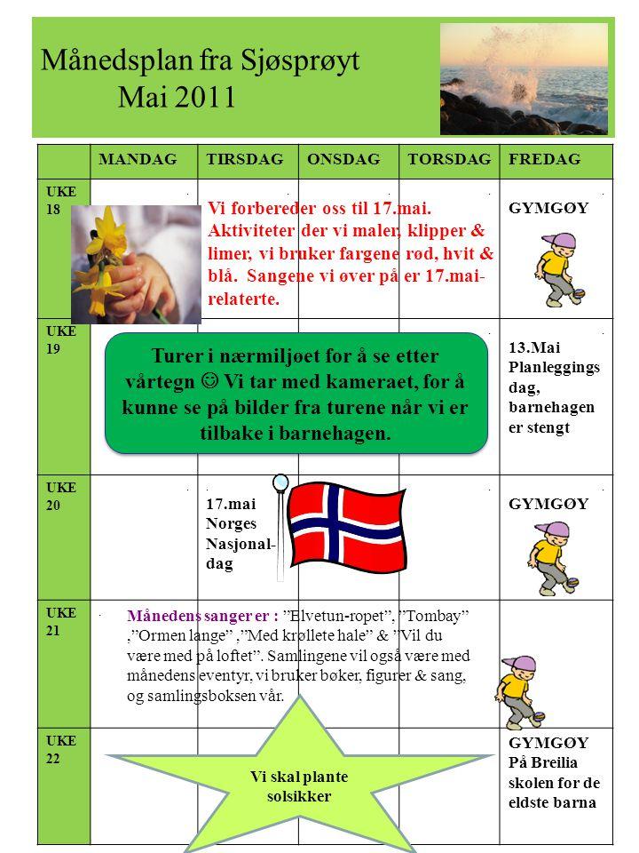 Månedsplan fra Sjøsprøyt Mai 2011 MANDAGTIRSDAGONSDAGTORSDAGFREDAG UKE 18..... GYMGØY UKE 19.... 13.Mai Planleggings dag, barnehagen er stengt UKE 20.