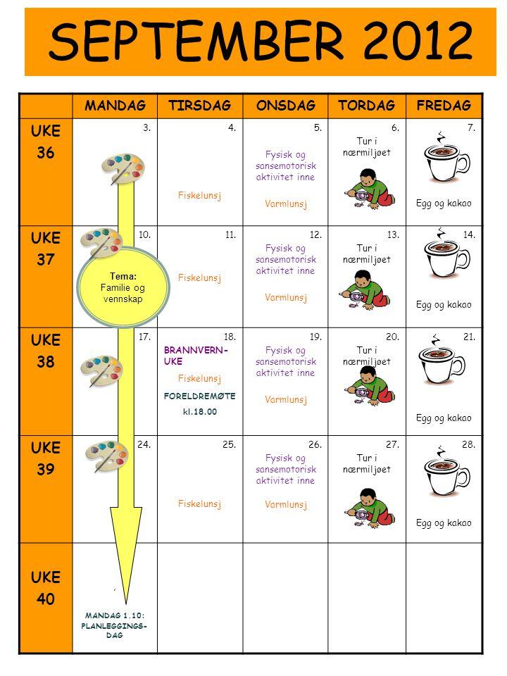 MANDAGTIRSDAGONSDAGTORDAGFREDAG UKE 36 3.4. Fiskelunsj 5. Fysisk og sansemotorisk aktivitet inne Varmlunsj 6. Tur i nærmiljøet 7. Egg og kakao UKE 37
