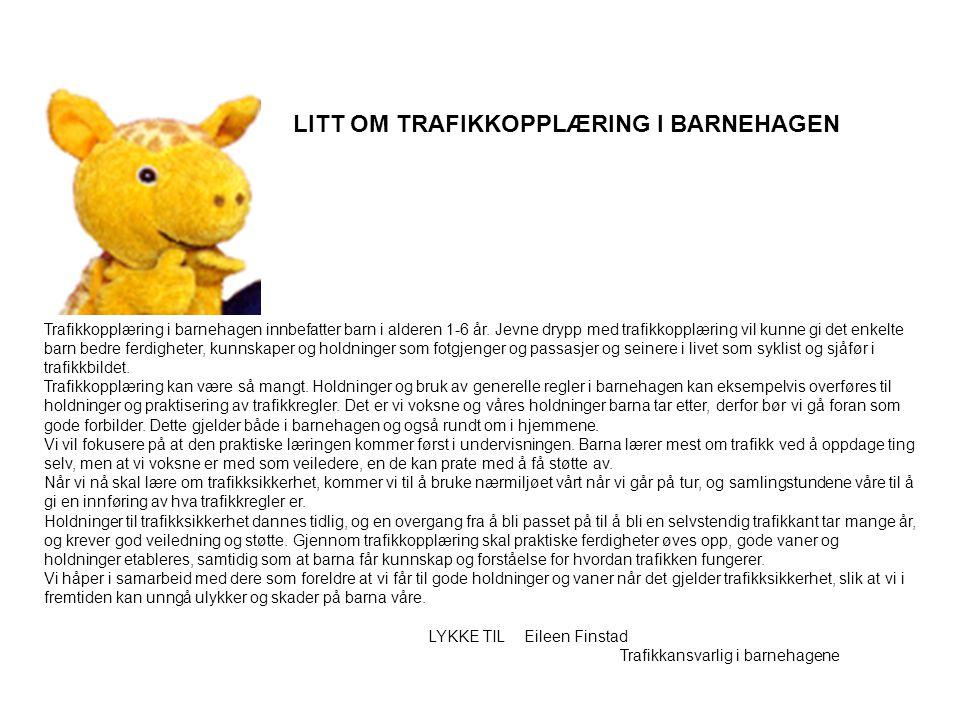 LITT OM TRAFIKKOPPLÆRING I BARNEHAGEN Trafikkopplæring i barnehagen innbefatter barn i alderen 1-6 år. Jevne drypp med trafikkopplæring vil kunne gi d
