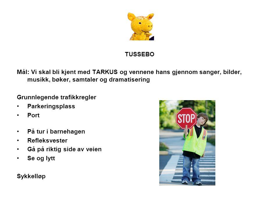 TUSSEBO Mål: Vi skal bli kjent med TARKUS og vennene hans gjennom sanger, bilder, musikk, bøker, samtaler og dramatisering Grunnlegende trafikkregler