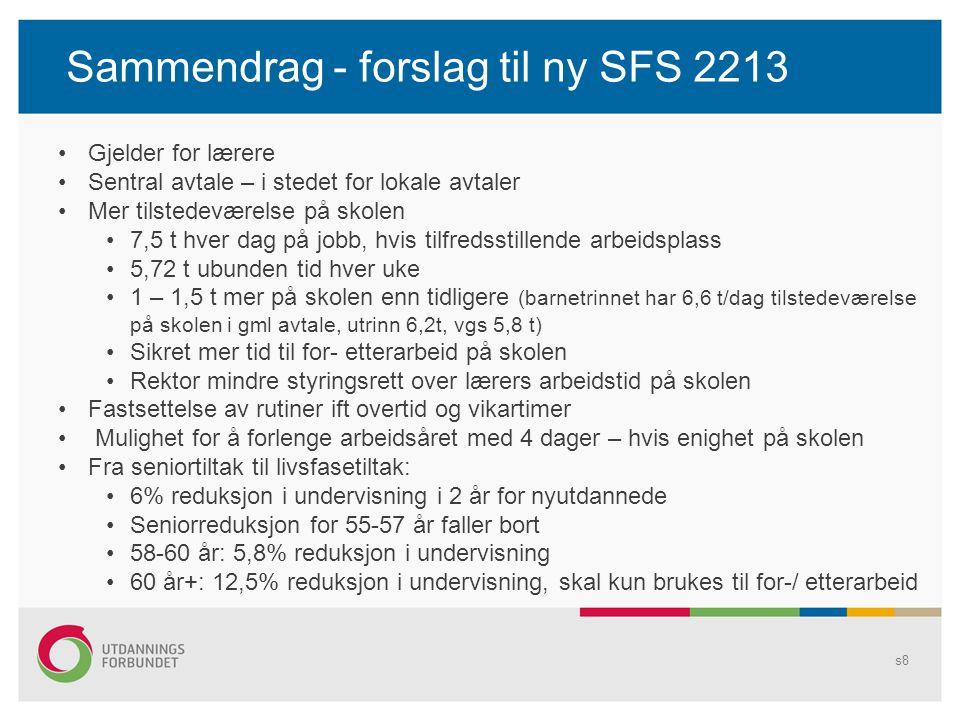 Sammendrag - forslag til ny SFS 2213 s8 Gjelder for lærere Sentral avtale – i stedet for lokale avtaler Mer tilstedeværelse på skolen 7,5 t hver dag p