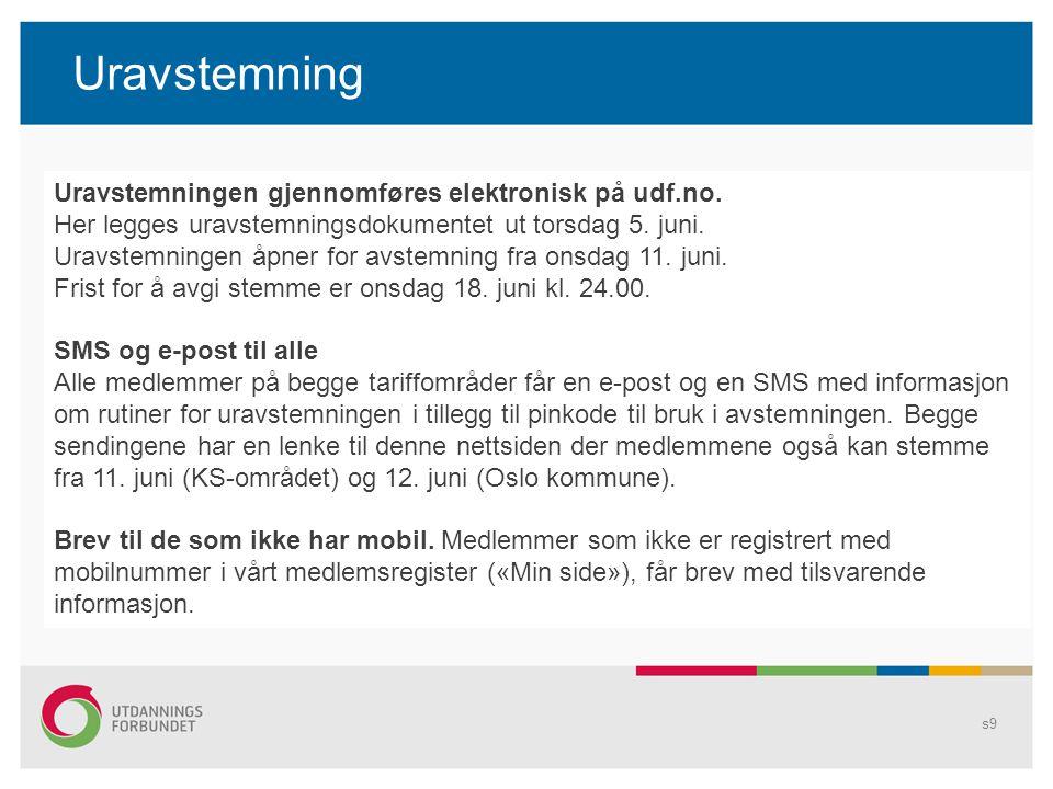 Uravstemning s9 Uravstemningen gjennomføres elektronisk på udf.no. Her legges uravstemningsdokumentet ut torsdag 5. juni. Uravstemningen åpner for avs