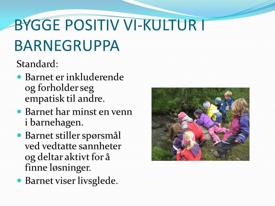BYGGE POSITIV VI-KULTUR I BARNEGRUPPA Standard: Barnet er inkluderende og forholder seg empatisk til andre. Barnet har minst en venn i barnehagen. Bar