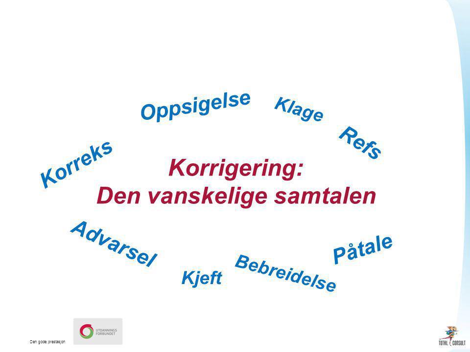 Den gode prestasjon Korreks Refs Advarsel Påtale Korrigering: Den vanskelige samtalen Oppsigelse Kjeft Klage Bebreidelse