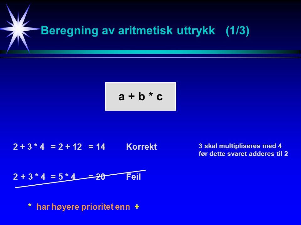 Beregning av aritmetisk uttrykk (1/3) 2 + 3 * 4=2 + 12=14Korrekt 2+3 * 4=5 * 4= 20Feil * har høyere prioritet enn + a + b * c 3 skal multipliseres med 4 før dette svaret adderes til 2