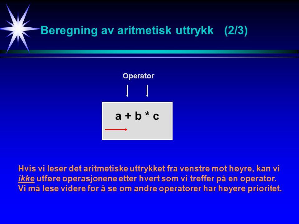 Beregning av aritmetisk uttrykk (2/3) Hvis vi leser det aritmetiske uttrykket fra venstre mot høyre, kan vi ikke utføre operasjonene etter hvert som vi treffer på en operator.